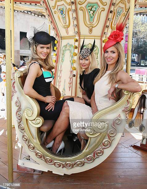 Carnival Ambassadors Sophie Falkiner Nerida Winter and Laura Csortan pose at the Sydney Spring Carnival launch at the Australian Turf Club on...