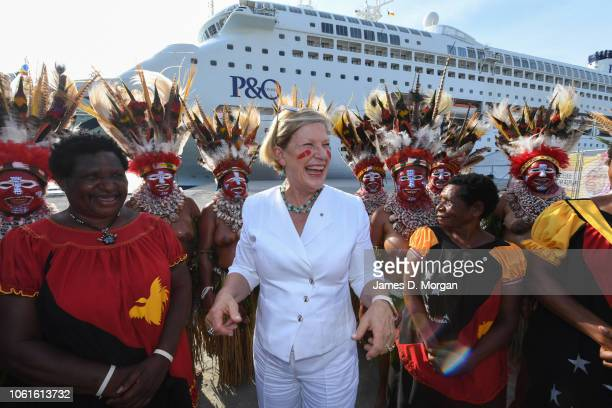 Carnival Australia Chairman Ann Sherry greets the MK Kuri Kala group from the Western Islands Province on November 15 2018 in Port Moresby Papua New...