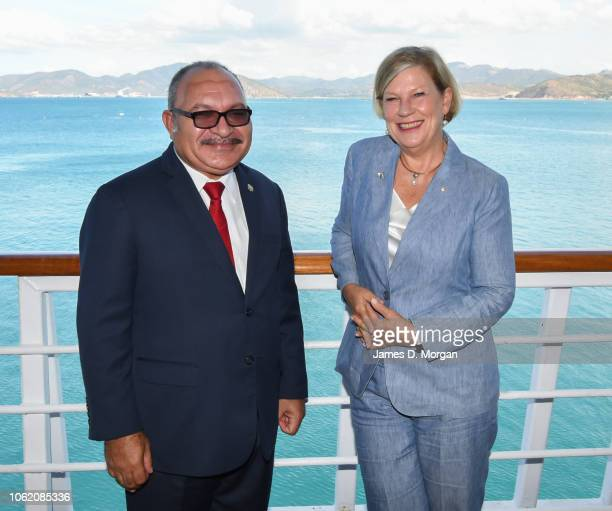 Carnival Australia Chairman Ann Sherry with Papua New Guinea Prime Minister Peter O'Neill together on the promenade deck of PO Cruises' Pacific...