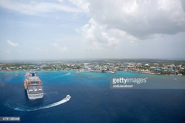 Carnival Breeze cruise ship anchored in George Town, Grand Cayman