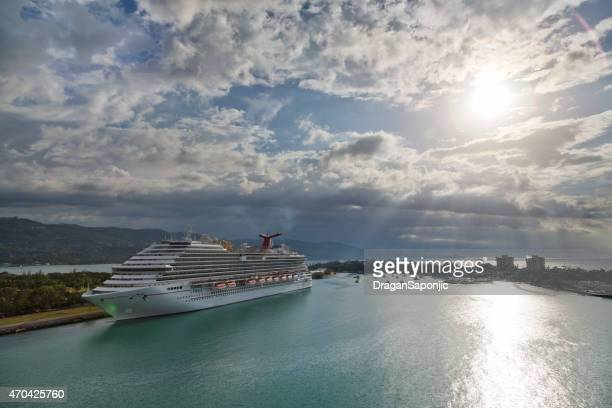 carnival breeze in montego bay, jamaica. aerial panoramic view - montego bay stock pictures, royalty-free photos & images