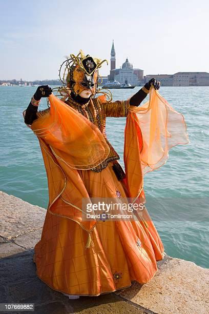 carnival character in costume, venice, italy - maschere veneziane foto e immagini stock