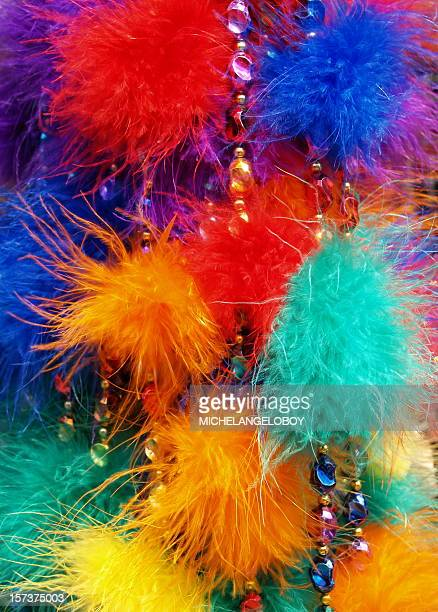 carnival colored feathers - feather boa stock pictures, royalty-free photos & images