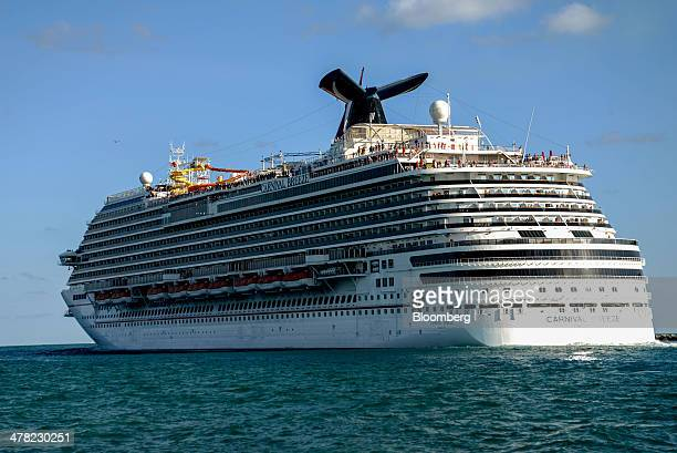 Carnival Corp Plc's Breeze cruise ship leaves the Port of Miami in Miami Florida US on Sunday March 9 2014 Carnival Breeze was built by Italian...
