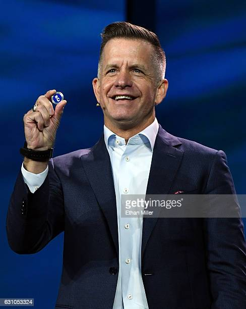 Carnival Corp Senior Vice President Guest Experience Design Technology Michael Jungen talks about the company's new Ocean Medallion during a keynote...