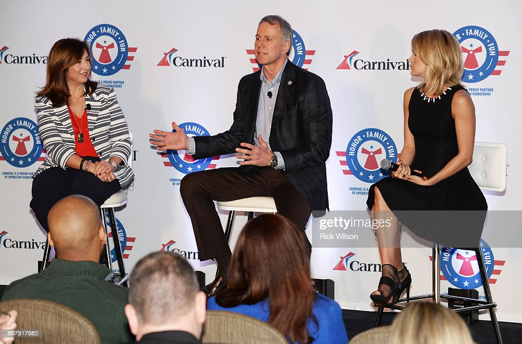 Carnival Cruise Line President Christine Duffy, left, and country superstar Carrie Underwood, right, listen to Operation Homefront President & CEO John Pray Jr. speak about a new partnership on January 28, 2016 in Jacksonville, Florida.
