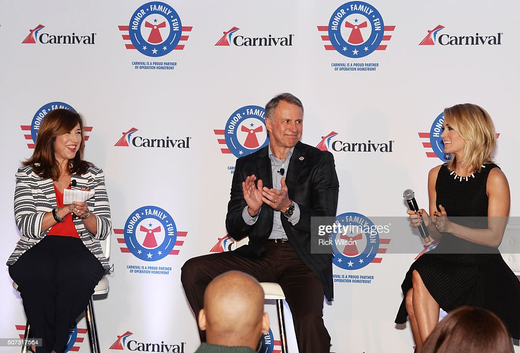 Carnival Cruise Line President Christine Duffy, left, Operation Homefront President & CEO John Pray Jr., center and country superstar Carrie Underwoodduring the announcement of a new partnership on January 28, 2016 in Jacksonville, Florida.