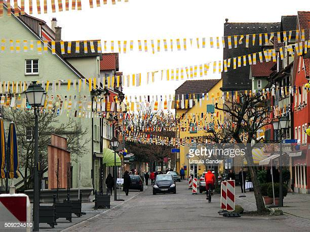 Carnival decoration in the street, Meersburg, Lake Constance, Germany