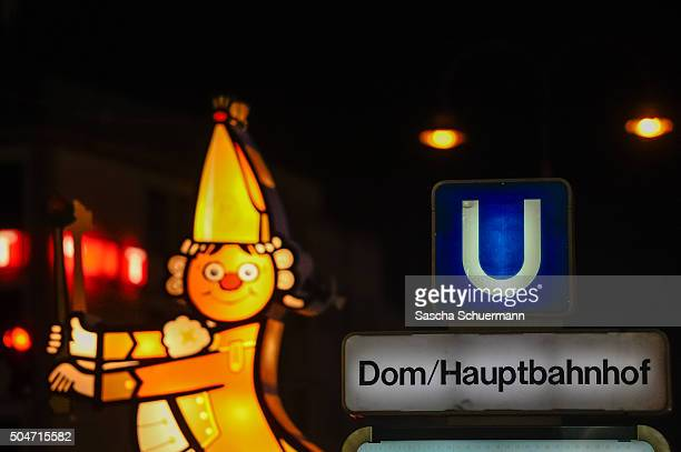Carnival decoration is shown in front of Hauptbahnhof main railway station stands near Hauptbahnhof main railway station where on New Year's Eve...