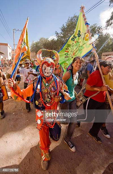 Carnival Devil , a traditional costume at the Andean Carnival in the streets of Tilcara . During Carnival festivities in the small village of...