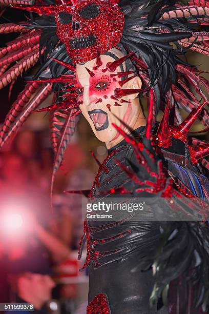 carnival devil costume in argentina gualeguaychu - argentina traditional clothing stock photos and pictures