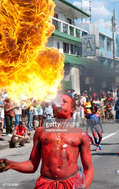 carnival devil fire - trinidad carnival stock pictures, royalty-free photos & images