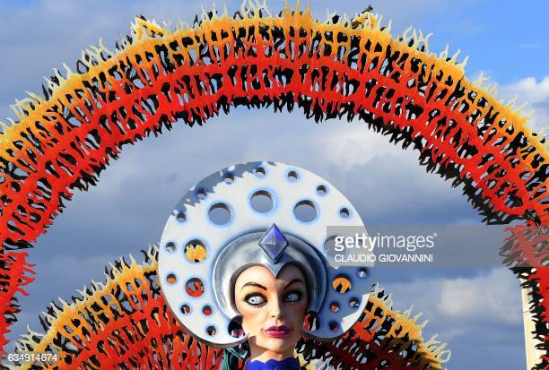 A carnival float entitled 'The Seed of Beauty' rolls through the streets of Viareggio during the traditional carnival in Tuscany on February 12 2017...