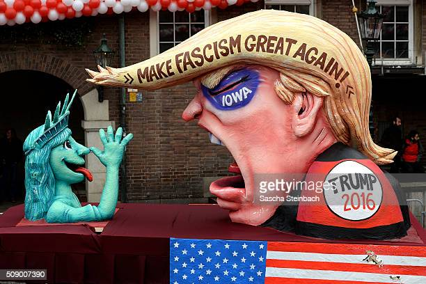 A carnival float mocking US Republican presidential candidate Donald Trump stands on display near city hall on February 8 2016 in Duesseldorf Germany...