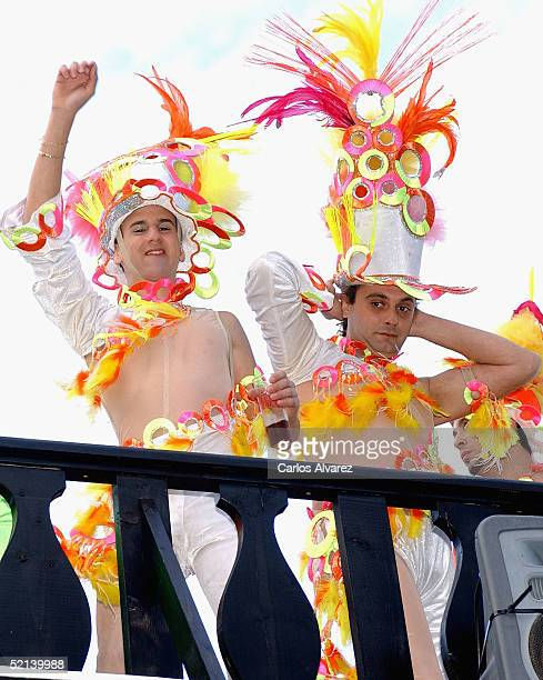Carnival goers in costume participate in the Gran Canaria Carnival Parade on February 5 2005 in Gran Canaria Spain Several hundred thousand people...