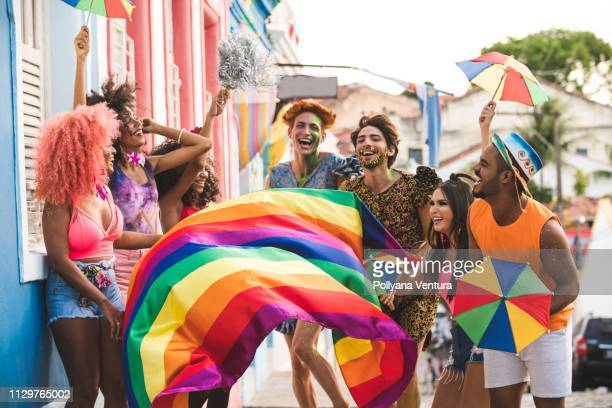 carnival in the famous streets of olinda - gay rights stock pictures, royalty-free photos & images