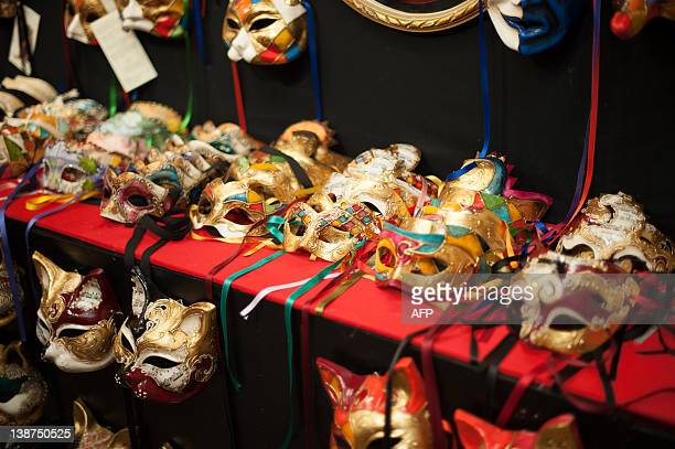 Carnival masks are displayed in a shop during the carnival on February 11, 2012 in Venice. The 2012 edition of Venice Carnival running from February...