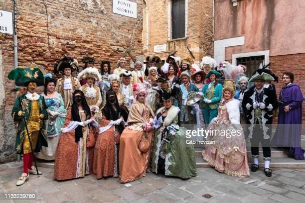 carnival masks of venice -large group of costumes (masks) - carnaval de veneza imagens e fotografias de stock