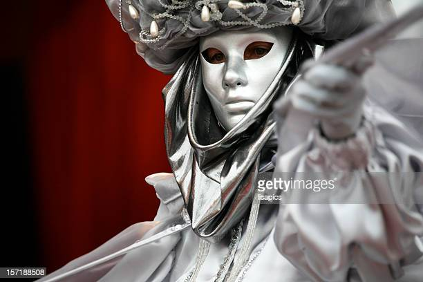 carnival mask:silver - venice carnival stock pictures, royalty-free photos & images
