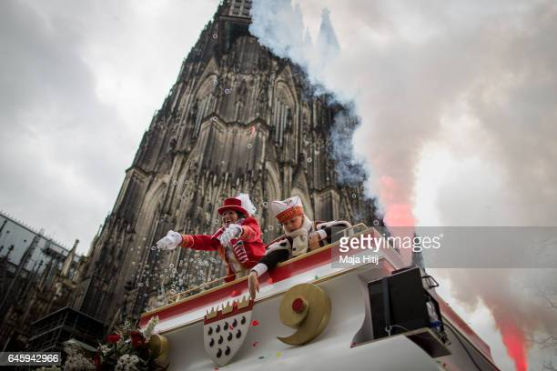 Carnival members celebrate Rose Monday parade on February 27 2017 in Cologne Germany Political satire is a traditional cornerstone of the annual...
