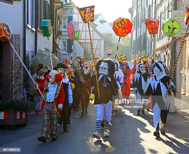 carnival of basel, basel, switzerland - basel switzerland stock pictures, royalty-free photos & images