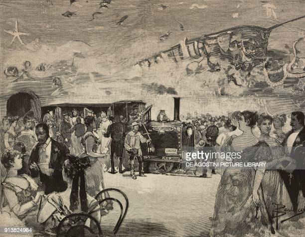 Carnival party at the International Artistic Club of Rome Italy engraving after a drawing by Dante Paolocci from L'Illustrazione Italiana Year XX No...