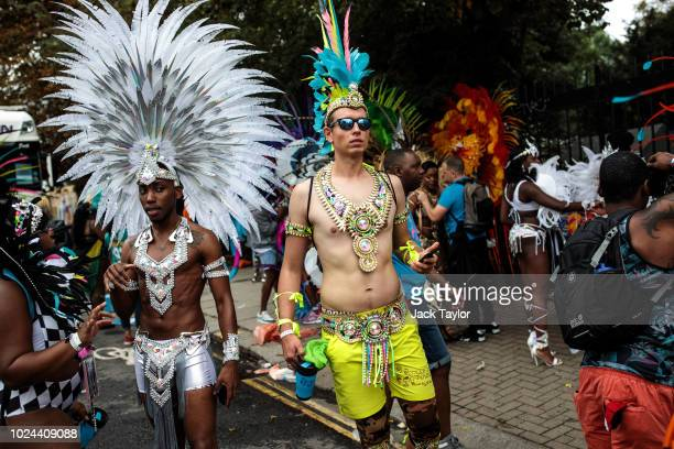 Carnival performers in costume attend the final day of the Notting Hill Carnival on August 27, 2018 in London, England. The Notting Hill Carnival,...