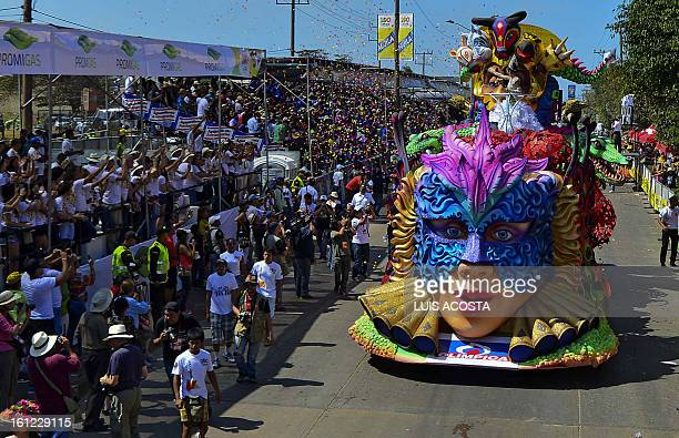 Carnival Queen Daniela Cepada performs atop a float during the carnival parade in Barranquilla Colombia on February 9 2013 Barranquilla's Carnival a...
