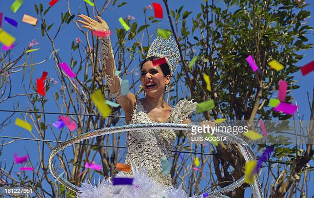 Carnival Queen Daniela Cepada performs during the carnival parade in Barranquilla Colombia on February 9 2013 Barranquilla's Carnival a tradition...