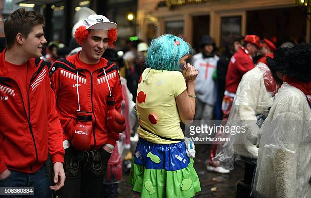 Carnival revellers party during Weiberfastnacht celebrations as part of the carnival season on February 4 2016 in Cologne Germany Carnival partying...