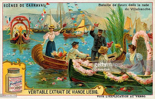 Flower battle in the river of Villefranche sur Mer France