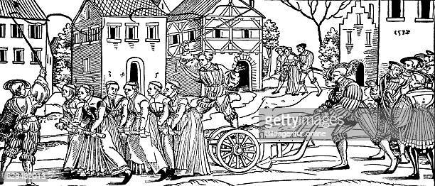 remaining unmarried women of the last year pulling a plow woodcut from 1880