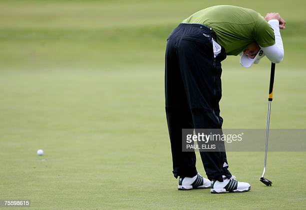 Spanish Sergio Garcia reacts following a shot on the 18th hole during the final round of the 136th British Open Golf Championship at Carnoustie...