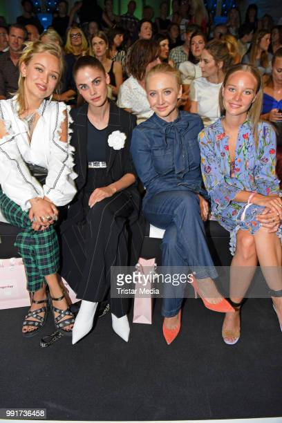 Caro Cult Lisa Tomaschewsky Anna Maria Muehe and Sonja Gerhardt attend the Riani show during the Berlin Fashion Week Spring/Summer 2019 at ewerk on...