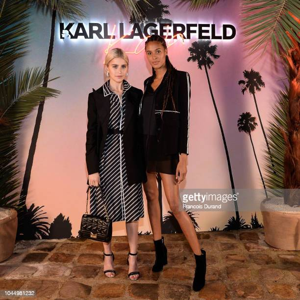 Caro Daur and Cindy Bruna celebrate the launch of the Karl x Kaia collaboration capsule collection on October 2 2018 in Paris France
