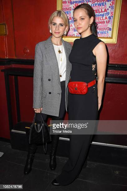 Caro Daur and Lisa Vicari attend the Stella McCartney X UZWEI Spring/Summer 2019 Collection Launch Party at Gruenspan Club on October 18 2018 in...