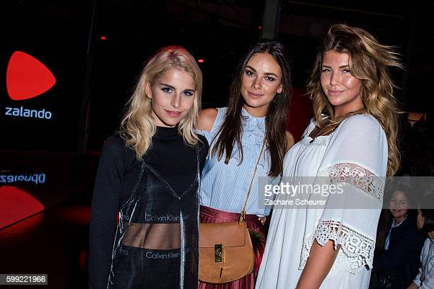 Caro Daur Janina Uhse and Farina Novalanalove attends the Zalando fashion show during the Bread Butter by Zalando at arena Berlin on September 4 2016...