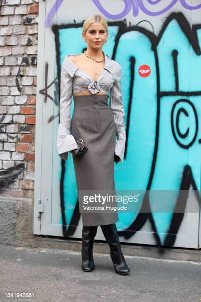Caro Daur poses ahead of the Fendi fashion show during the Milan Fashion Week - Spring / Summer 2022 on September 22, 2021 in Milan, Italy.
