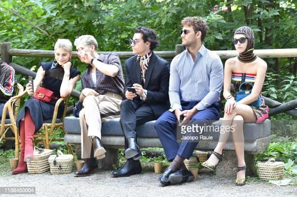 Caro Daur Tommy Dorfman Rob Raco Alex Pettyfer and Sarah Snyder attend the Fendi fashion show during the Milan Men's Fashion Week Spring/Summer 2020...