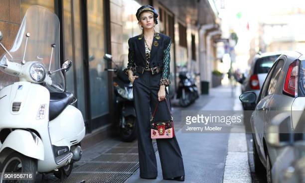 Caro Daur wearing a complete look from Dolce Gabbanna on September 24 2017 in Milan