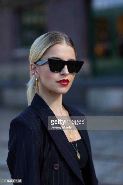 Caro Daur wearing a complete Marc Cain look during the Berlin Fashion Week July 2018 on July 3 2018 in Berlin Germany