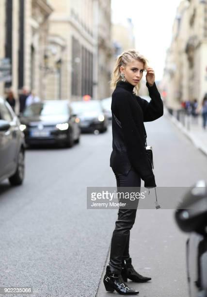Caro Daur wearing a Off White bag and Ash shoes during the Paris Fashion Week on September 29 2017 in Paris