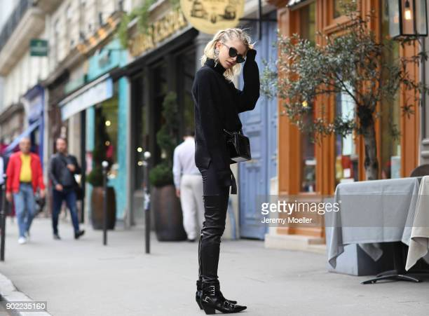 Caro Daur wearing a Off White bag and Ash shoes during the Paris Fashion Week on September 29 2017 in Paris