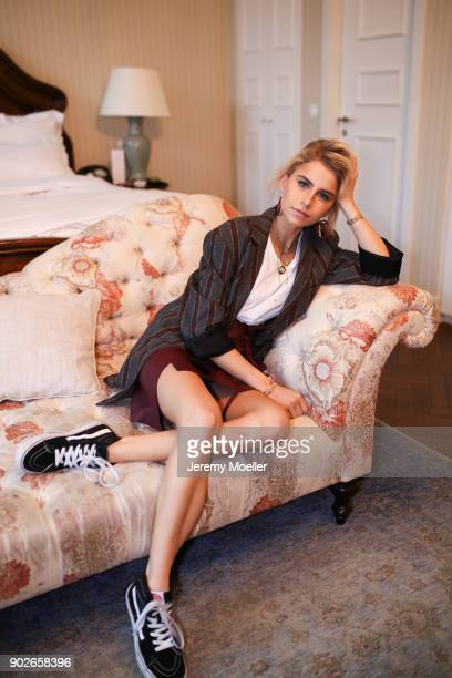 Caro Daur wearing Vans shoes Fendi earrings on November 02 2017 in Berlin at the Soho House