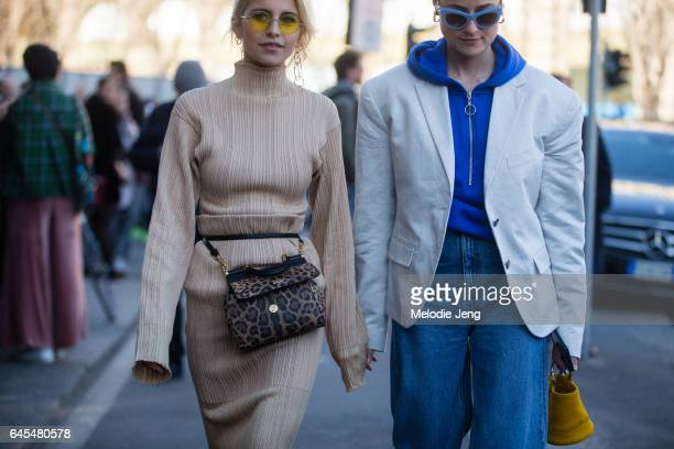 Caro Daur wears Dolce Gabbana and a friend carries a Simon Miller bag outside Jil Sander during Milan Fashion Week Fall/Winter 2017/18 on February 25...