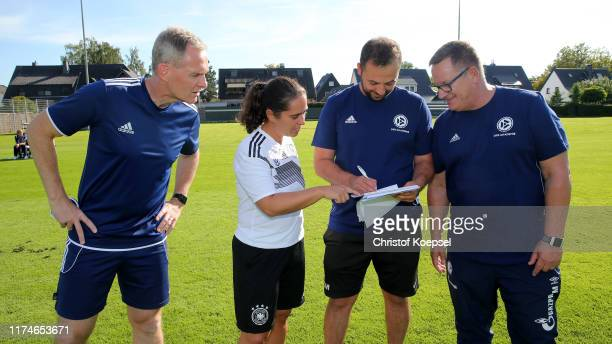 Caro Kunschke DFB coach educator and coach educator of football association Niedersachsen leads a training session during the...