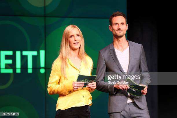 Caro Matzko and Fero Andersen during the photo call of 'Gesundheit! Die Show' on October 28, 2017 at Arri Studio in Munich, Germany.