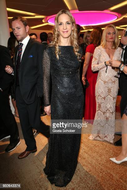 Caro Matzko wearing a dress by Sonja Kiefer during the Four Seasons Fashion Charity Dinner at Hotel Vier Jahreszeiten on March 15, 2018 in Munich,...