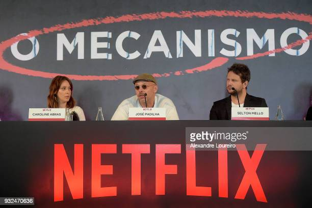 Carol Abras Jose Padilha and Selton Mello attend the press conference for the new Netflix series O Mecanismo at the Belmond Copacabana Palace Hotel...
