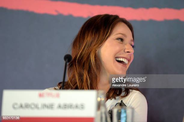 Carol Abras speaks during the press conference for the new Netflix series O Mecanismo at the Belmond Copacabana Palace Hotel on March 15 2018 in Rio...